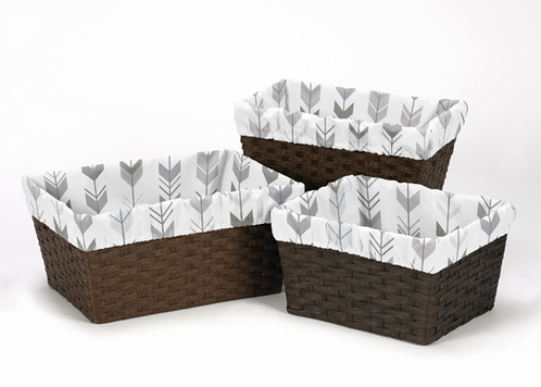 Grey and White One Size Fits Most Basket Liners for Woodland Arrow Collection by Sweet Jojo Designs - Set of 3 - Click to enlarge