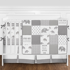 Grey And White Patchwork Gray Elephant Baby Boy Or Girl Crib Bedding Set With Bumper By