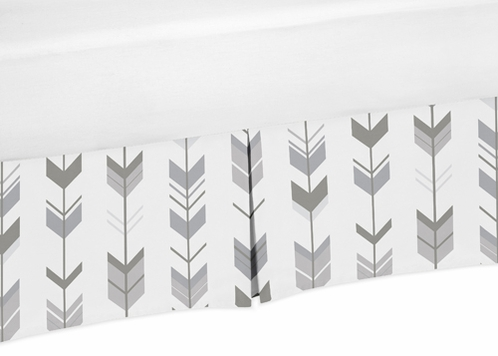 Grey and White Pleated Toddler Bed Skirt Dust Ruffle for Woodland Arrow Collection by Sweet Jojo Designs - Click to enlarge