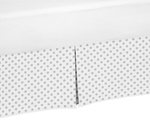 Grey and White Polka Dot Pleated Toddler Bed Skirt Dust Ruffle for Watercolor Floral Collection by Sweet Jojo Designs
