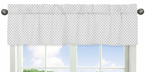 Grey and White Polka Dot Window Treatment Valance for Watercolor Floral Collection by Sweet Jojo Designs - Click to enlarge
