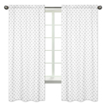 Grey and White Swiss Cross Window Treatment Panels Curtains for Woodsy Collection by Sweet Jojo Designs - Set of 2