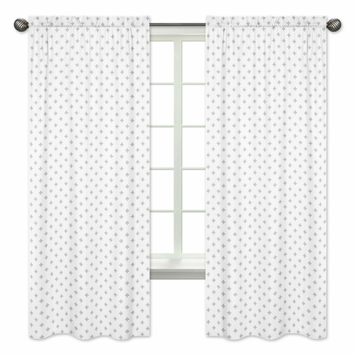 Grey and White Swiss Cross Window Treatment Panels Curtains for Woodsy Collection by Sweet Jojo Designs - Set of 2 - Click to enlarge