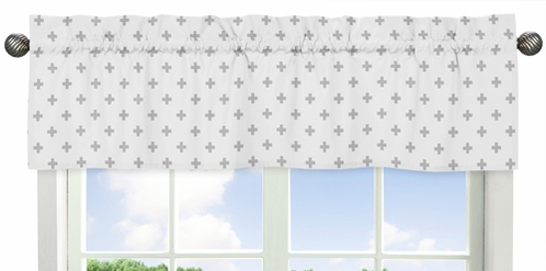 Grey and White Swiss Cross Window Treatment Valance for Woodsy Collection by Sweet Jojo Designs - Click to enlarge