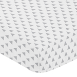 Grey and White Triangle Baby or Toddler Fitted Crib Sheet for Woodsy Collection by Sweet Jojo Designs