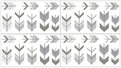 Grey and White Wall Decal Stickers for Woodland Arrow Collection by Sweet Jojo Designs - set of 4 sheets