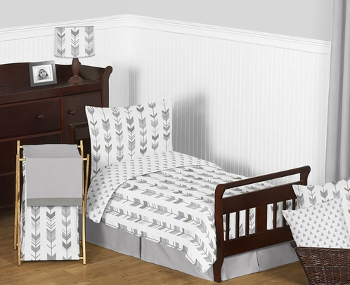 Grey and White Woodland Arrow Boy or Girl Toddler Kid Childrens Bedding Set by Sweet Jojo Designs - 5 pieces Comforter, Sham and Sheets - Click to enlarge