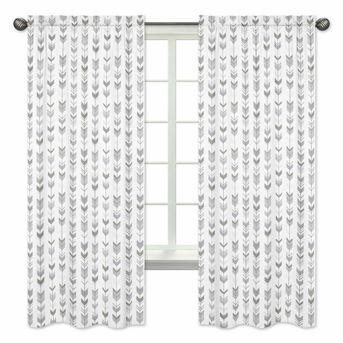 Grey and White Window Treatment Panels Curtains for Woodland Arrow Collection by Sweet Jojo Designs - Set of 2 - Click to enlarge