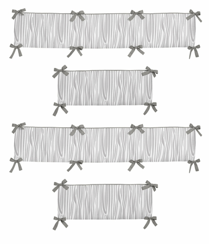 Grey And White Wood Grain Baby Crib Bumper Pad For Woodsy