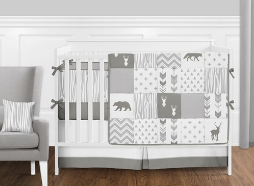 Grey and White Woodsy Deer Boy, Girl, Unisex Baby Crib Bedding Set with Bumper by Sweet Jojo Designs - 9 pieces - Click to enlarge