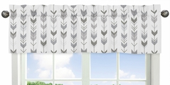 Grey and White Window Treatment Valance for Woodland Arrow Collection by Sweet Jojo Designs