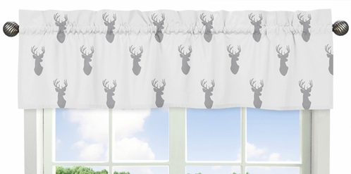 Grey and White Woodland Deer Collection Window Valance by Sweet Jojo Designs - Click to enlarge