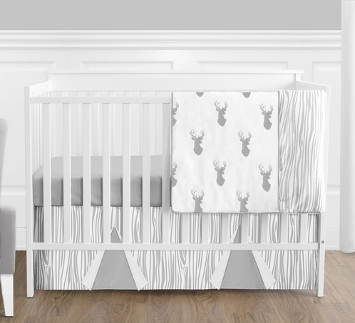 Grey and White Woodland Deer Baby Bedding - 4pc Boys Crib Set by Sweet Jojo Designs - Click to enlarge