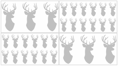 Grey and White Woodland Deer Baby, Childrens and Kids Wall Decal Stickers by Sweet Jojo Designs - Set of 4 Sheets