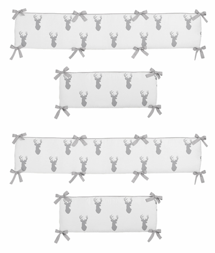 Grey and White Woodland Deer Baby Crib Bumper Pad by Sweet Jojo Designs - Click to enlarge