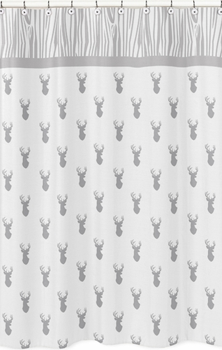 Grey and white woodland deer childrens bathroom fabric for Grey childrens fabric