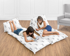 Grey and White Woodland Deer Kids Teen Floor Pillow Case Lounger Cushion Cover by Sweet Jojo Designs