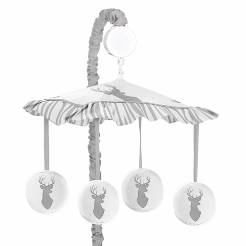 Grey and White Woodland Deer Musical Baby Crib Mobile by Sweet Jojo Designs - Click to enlarge