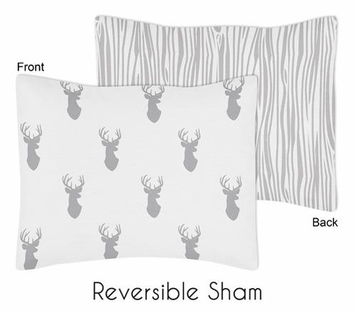 Grey and White Woodland Deer Pillow Sham by Sweet Jojo Designs - Click to enlarge