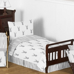 Grey and White Woodland Deer Toddler Boy Bedding 5pc Set by Sweet Jojo Designs