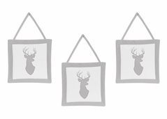 Grey and White Woodland Deer Wall Hanging Accessories by Sweet Jojo Designs