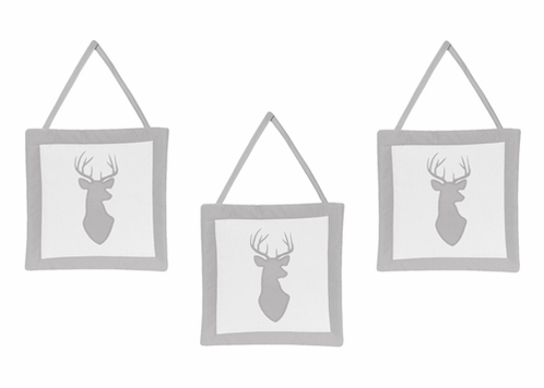 Grey and White Woodland Deer Wall Hanging Accessories by Sweet Jojo Designs - Click to enlarge