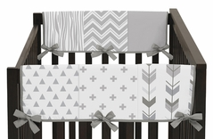 Grey and White Woodland Side Crib Rail Guards Baby Teething Cover Protector Wrap for Woodsy Collection by Sweet Jojo Designs - Set of 2
