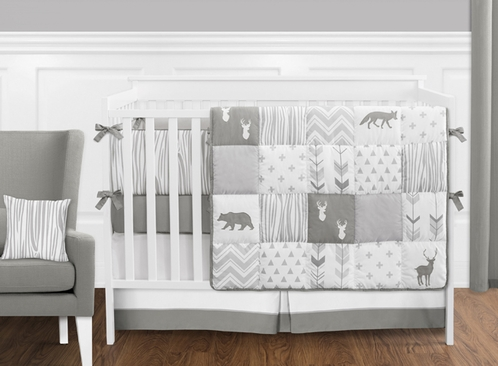 Grey And White Woodsy Deer Boy Uni Baby Crib Bedding Set With Per