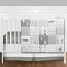 Grey and White Woodsy Deer Boy, Girl, Unisex Baby Crib Bedding Set without Bumper by Sweet Jojo Designs - 4 pieces