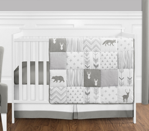 Grey And White Woodsy Deer Boy Uni Baby Crib Bedding Set Without Per