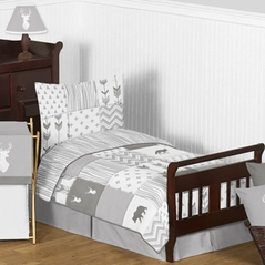 Grey and White Woodsy Deer Boy or Girl Toddler Kid Childrens Bedding Set by Sweet Jojo Designs - 5 pieces Comforter, Sham and Sheets