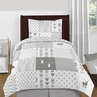 Grey and White Woodsy Deer Boy or Girl Twin Kid Childrens Bedding Comforter Set by Sweet Jojo Designs - 4 pieces