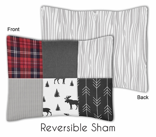 Grey, Black and Red Woodland Moose and Arrow Standard Pillow Sham for Rustic Patch Collection by Sweet Jojo Designs - Plaid Flannel Gray - Click to enlarge