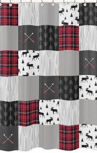 Grey Black And Red Woodland Plaid Arrow Bathroom Fabric Bath Shower Curtain For Rustic