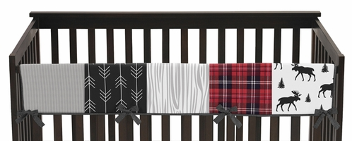 Grey, Black and Red Woodland Plaid and Arrow Long Front Crib Rail Guard Baby Teething Cover Protector Wrap for Rustic Patch Collection by Sweet Jojo Designs - Flannel Moose Gray - Click to enlarge