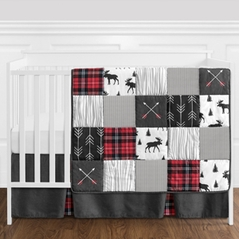 Grey, Black and Red Woodland Plaid and Arrow Rustic Patch Baby Boy Crib Bedding Set without Bumper by Sweet Jojo Designs - 11 pieces - Flannel Moose Gray