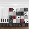 Grey, Black and Red Woodland Plaid and Arrow Rustic Patch Baby Boy Crib Bedding Set without Bumper by Sweet Jojo Designs - 4 pieces - Flannel Moose Gray