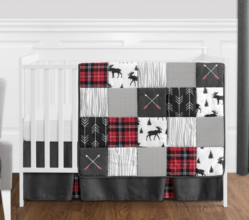 rustic black red boys bedroom | Grey, Black and Red Woodland Plaid and Arrow Rustic Patch ...
