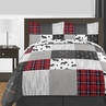 Grey, Black and Red Woodland Plaid and Arrow Rustic Patch Boy Full / Queen Kid Teen Bedding Comforter Set by Sweet Jojo Designs - 3 pieces - Flannel Moose Gray