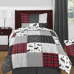 Grey, Black and Red Woodland Plaid and Arrow Rustic Patch Boy Twin Kid Childrens Bedding Comforter Set by Sweet Jojo Designs - 4 pieces - Flannel Moose Gray