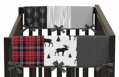 Grey, Black and Red Woodland Plaid and Arrow Side Crib Rail Guards Baby Teething Cover Protector Wrap for Rustic Patch Collection by Sweet Jojo Designs - Set of 2 - Flannel Moose Gray - Click to enlarge