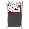 Grey, Black and Red Woodland Plaid and Moose Baby Kid Clothes Laundry Hamper for Rustic Patch Collection by Sweet Jojo Designs