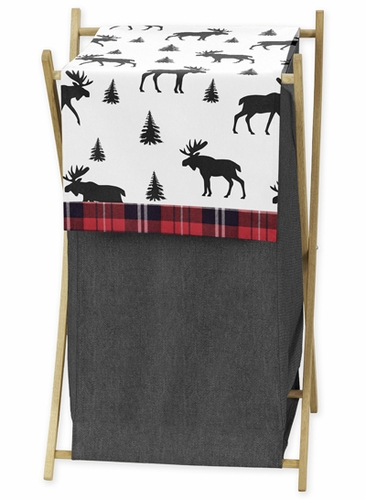 Grey, Black and Red Woodland Plaid and Moose Baby Kid Clothes Laundry Hamper for Rustic Patch Collection by Sweet Jojo Designs - Click to enlarge
