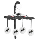 Grey, Black and Red Woodland Plaid and Moose Musical Baby Crib Mobile for Rustic Patch Collection by Sweet Jojo Designs