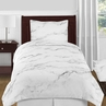 Grey, Black and White Marble 4pc Twin / Twin XL Bedding Set by Sweet Jojo Designs