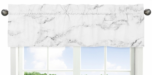 Grey, Black and White Marble Collection Window Valance by Sweet Jojo Designs - Click to enlarge