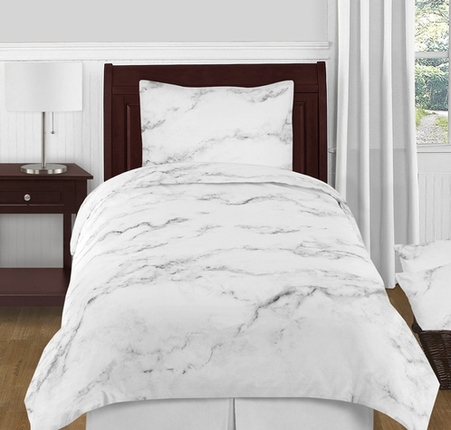 Grey black and white marble 4pc twin xl bedding set by for Black and white marble bedding