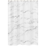Grey, Black and White Marble Childrens Bathroom Fabric Bath Shower Curtain by Sweet Jojo Designs