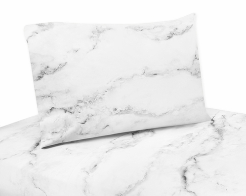 Grey Black And White Marble Collection King Sheet Set
