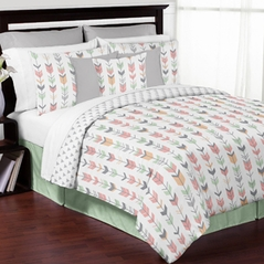 Grey, Coral and Mint Woodland Arrow 3pc Full / Queen Bedding Set by Sweet Jojo Designs